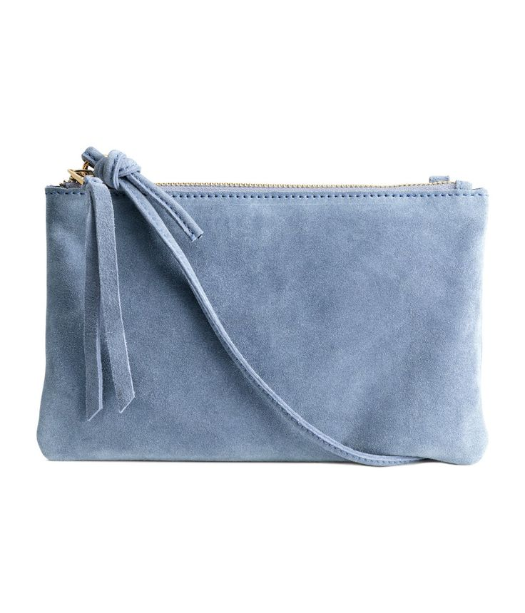 Small suede shoulder bag with a narrow shoulder strap, gold-colored zip at top, and one inner compartment.| H&M Pastels