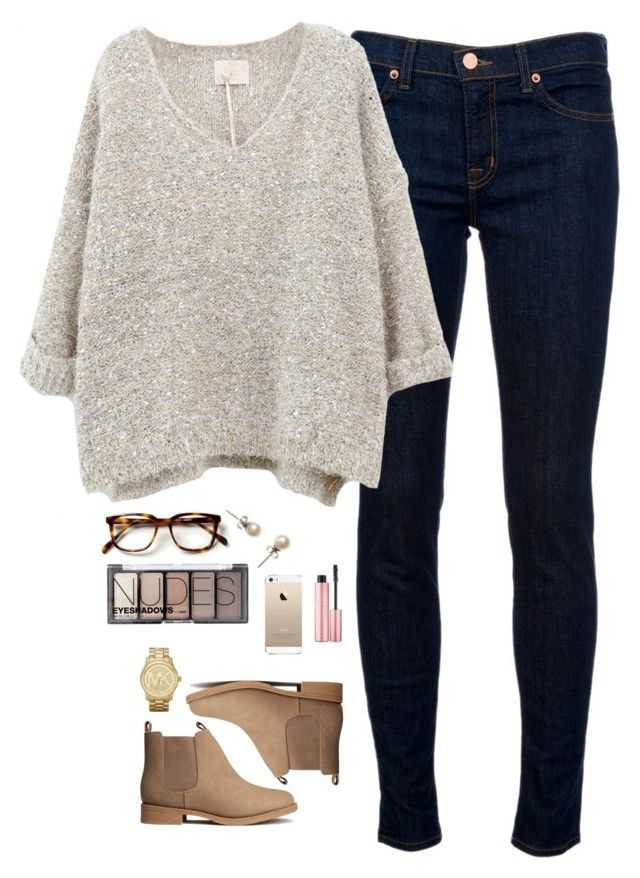 """Bello"" by northern-prep ❤️ liked on Polyvore featuring J Brand, H&M, Michael Kors, J.Crew and Too Faced Cosmetics"
