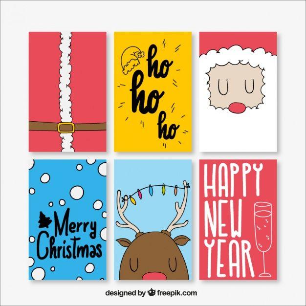 Nice desenhado à mão cartões de Natal Vetor grátis