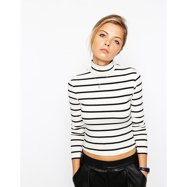ASOS Top in Turtleneck with Stripe (€17) ❤ liked on Polyvore featuring tops, creamblack, asos, striped turtleneck, navy stripe top, navy blue turtleneck and navy turtleneck
