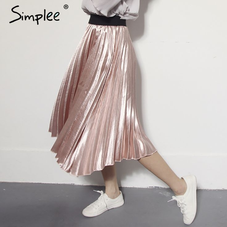 Simplee Autumn satin black long skirt summer Casual smooth women skirt 2016 winter high waist skirt Elastic pink pleated skirt