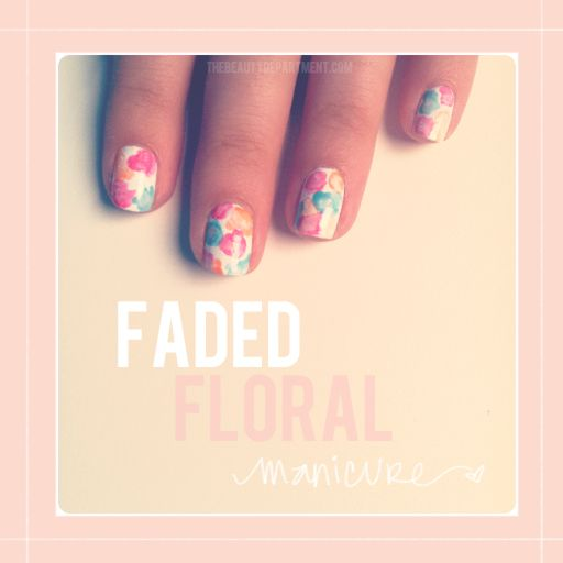 how to get faded floral nails: Floral Patterns, Floral Nails, Nails Art, Beautiful Department, Floral Manicures, Faded Floral, Nails Polish, Flowers Nails, Nails Tutorials