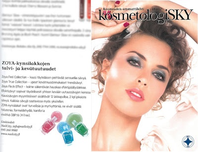 Zoya Nail Polish Spring 2012 True and Fleck Effect Collections & Zoya Feel Collection featured in Finland's Kosmetologi SKY