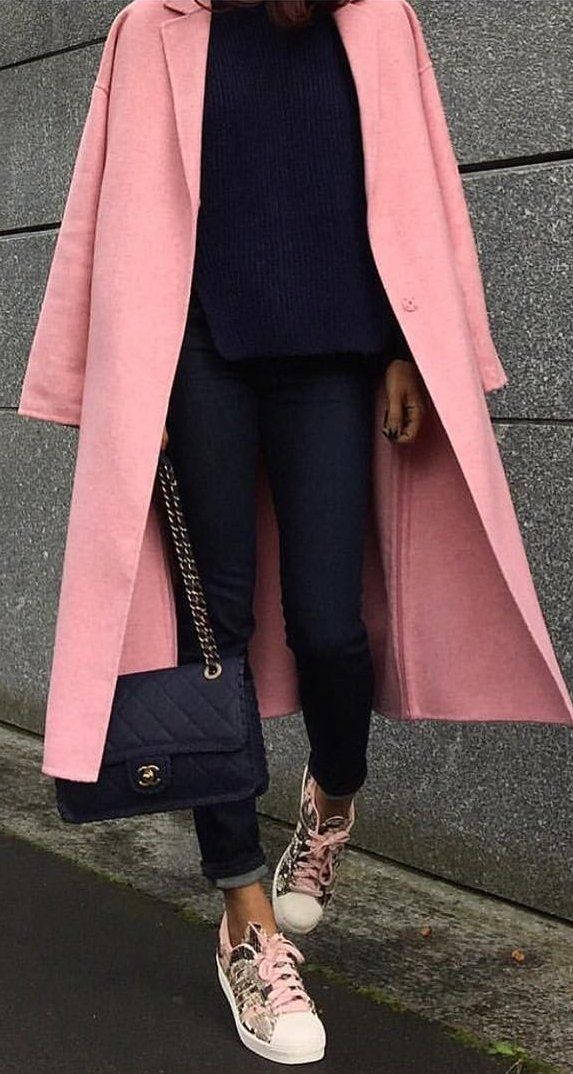 #thanksgiving #fashion ·  Pink Coat // Black Top // Skinny Jeans // Channel Bag // Pink Printed Sneakers