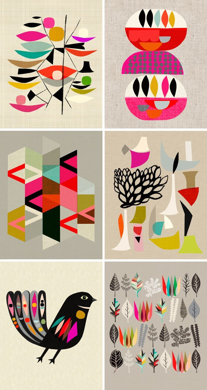 Inaluxe Artwork. I really like the simple and flat designs. The bright and lively colors work well together to create an energetic feeling. Geometric shapes used are visually intriguing. #designinspo