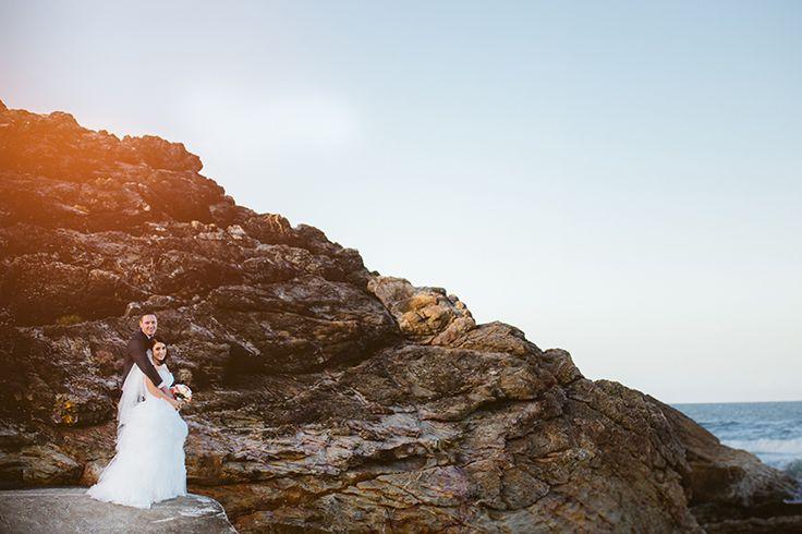 Bride and Groom | Bridal Party Rocks on Beach Photos | Sunset Burleigh Surf Club Wedding | Eliza Davis - Gold Coast Wedding Photographer |