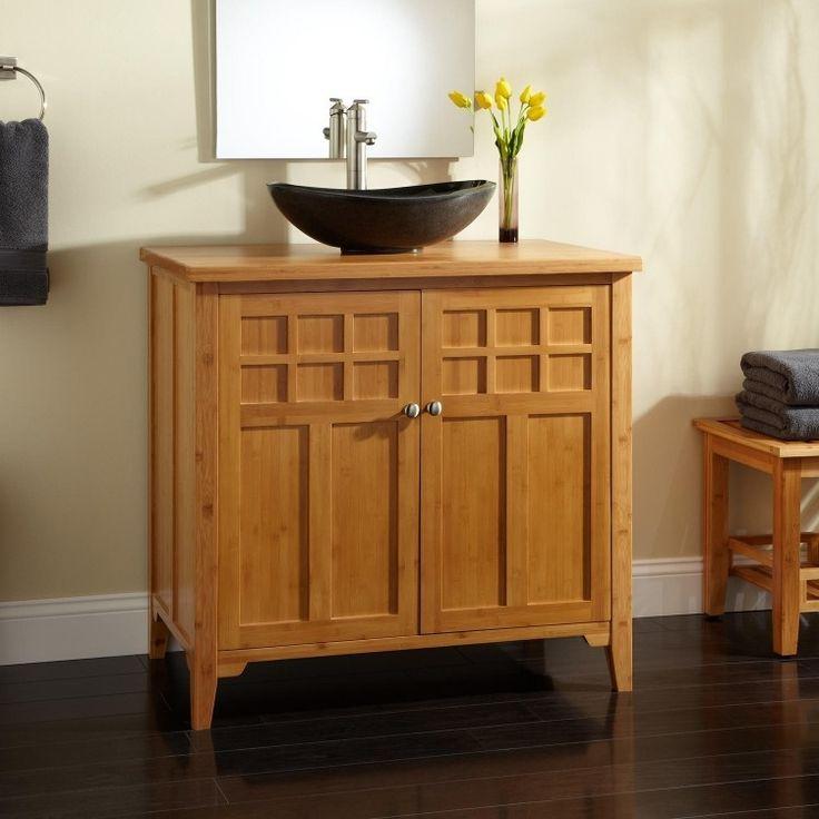 meuble salle de bain bambou avec espace de rangement vasque poser noire