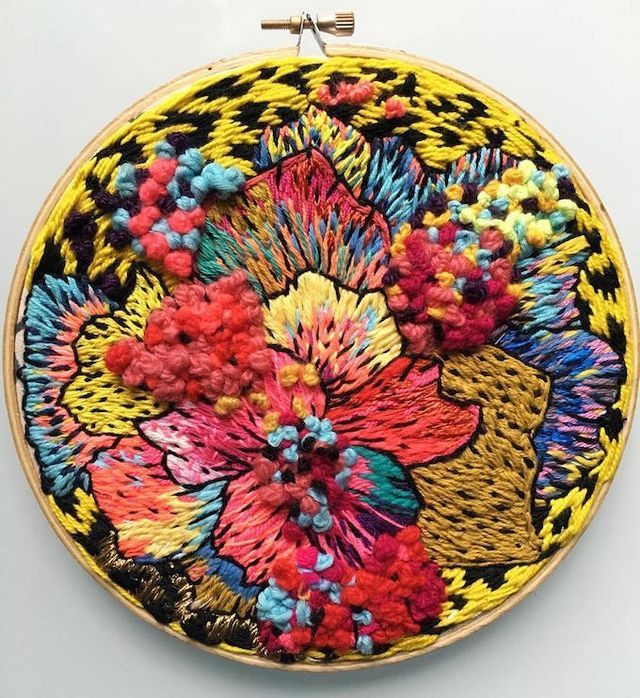 Eye-Catching Abstract Embroideries Combine Bold Stitches with Vibrant Color