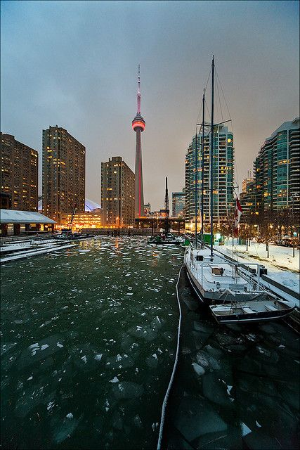 Icy water at Toronto's Harbourfront, Canada