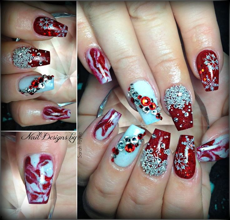 65 Festive Christmas Nail Art Designs Acrylic Nail Designs For
