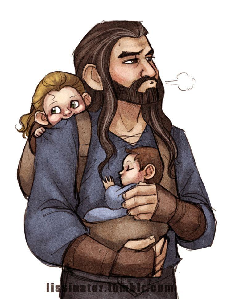 Thorin with toddler Fíli and baby Kíli