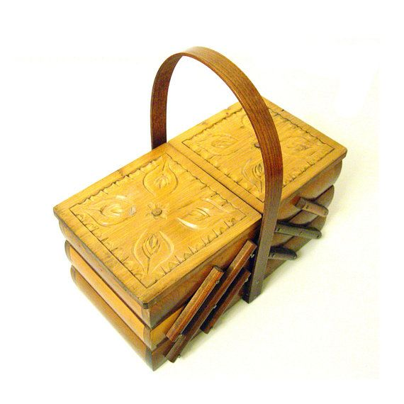 Vintage  Wooden Sewing Box by AMUARA on Etsy