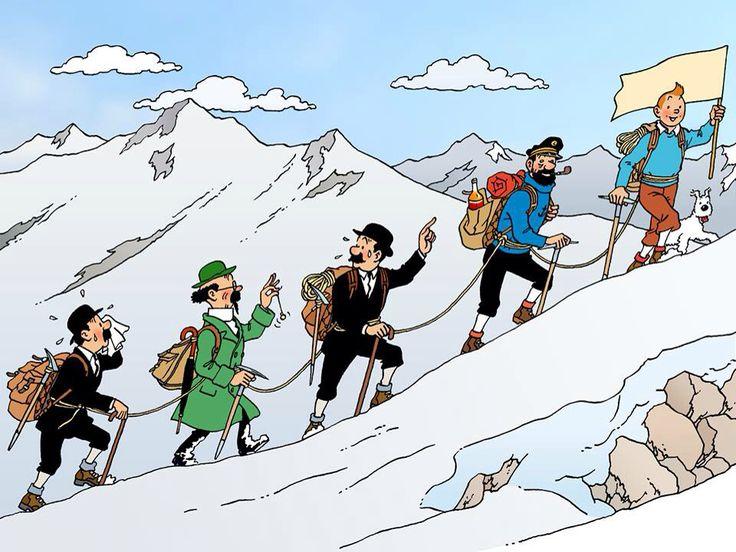 Tintin & co climbing the mountain