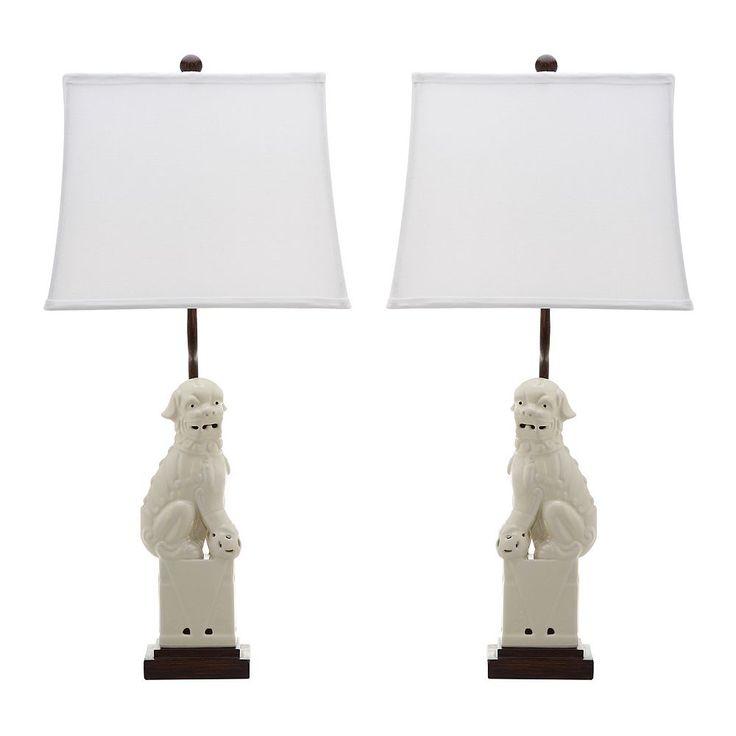 Safavieh 2-piece Foo Dog Table Lamp Set, Natural