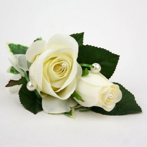 Artificial Silk Wedding Flowers - Ivory Rose Corsage with Pearls