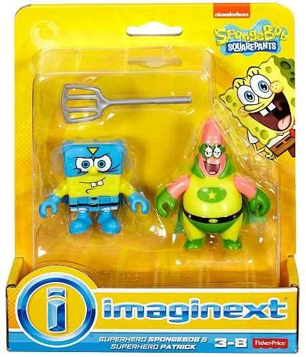 Imaginext, SpongeBob SquarePants, Superhero SpongeBob & Superhero Patrick Exclusive Action Figures $7.99 Includes Superhero SpongeBob in blue cape and Superhero Patrick figure in green cape with spatula Use these figures with other Imaginext SpongeBob SquarePants figures, vehicles & playsets to create exciting Bikini Bottom adventures! (Each sold separately and subject to availability.) Create wild & wacky Bikini Bottom adventures for these action figures! Kids get to use their greatest…
