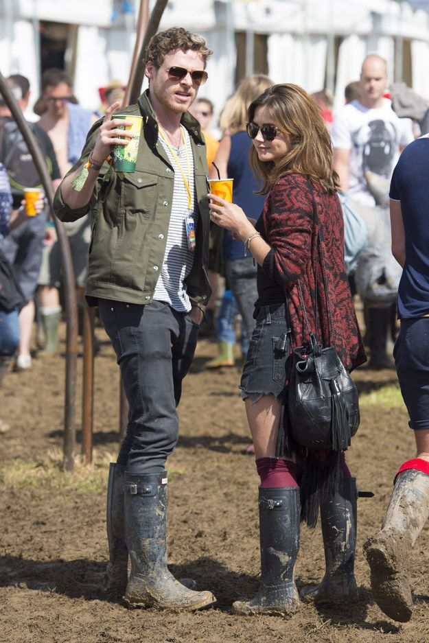 Richard Madden and Jenna-Louise Coleman. | All The Celebrities At Glastonbury 2014