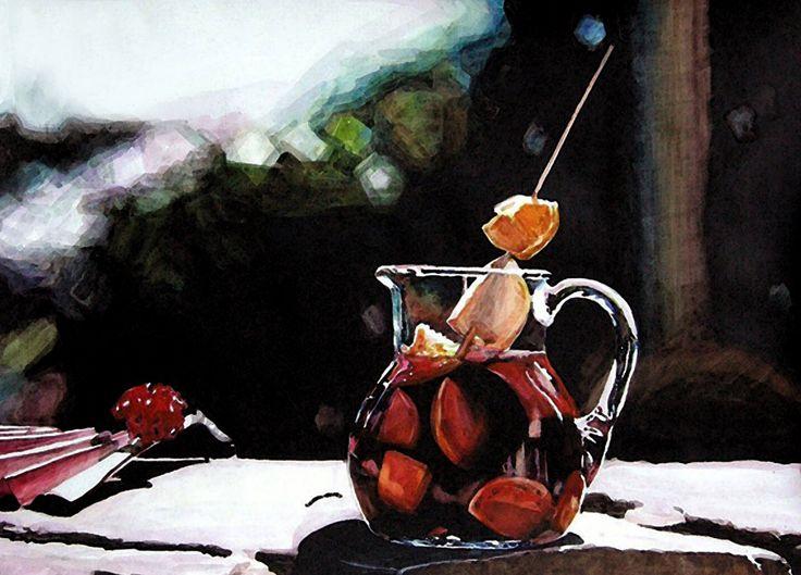 '과일음료가 담긴 유리 주전자' (4절 켄트지 / 수채화)