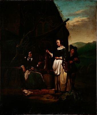 "Auction Lot: 35017127. Dutch School, 18th century. ""Genre scene"". Oil on copper. 49.5 x 42 cm."