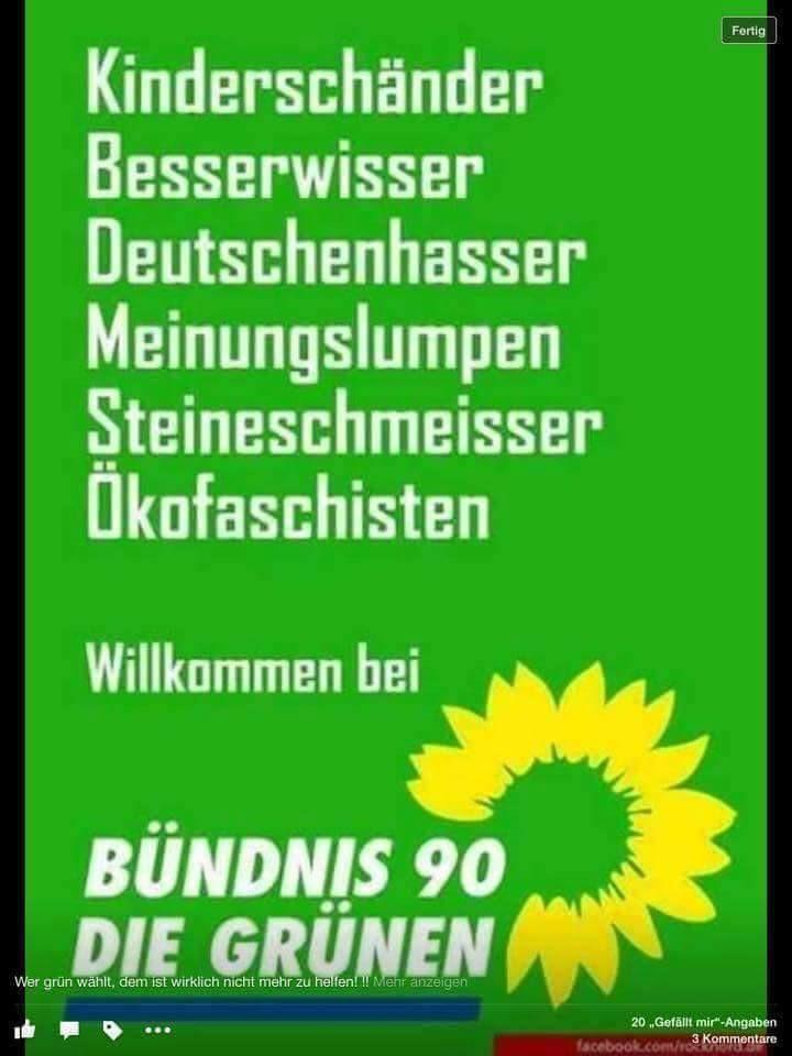 Feinde Deutschlands: Die Grünen! Kinderschänder, Besserwisser, Deutschenhasser, Meinungslumpen, Steinewerfer, Ökofaschisten