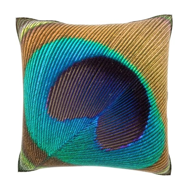 Throw Pillow Deals : Peacock Feather Close Up 18-inch Velour Throw Pillow - Overstock Shopping - Great Deals on ...