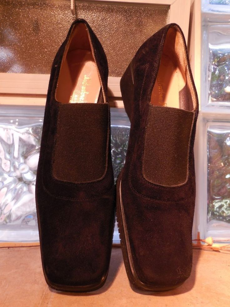 WOMENS BLACK SUEDE WEDGE SHOES SALVATORE FERRAGAMO 8AA NARROW MADE IN ITALY…