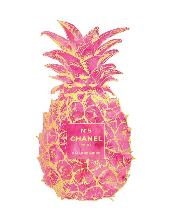 Gold & Pink Pineapple Chanel No5 Print Pineapple by hellomrmoon