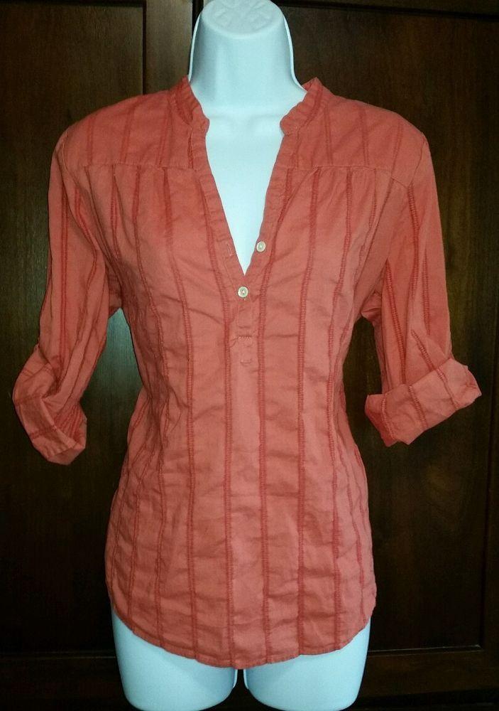 Women MEDIUM Peach/Melon Lucky Brand Shirt 3/4 Roll up Sleeves Mandarin Collar #LuckyBrand #Pullover #Casual