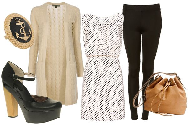 Workday Full of Meetings  Paired with a sweet polka-dot dress and a cozy cardi, leggings offer work-appropriate coverage and extra warmth for chilly days.