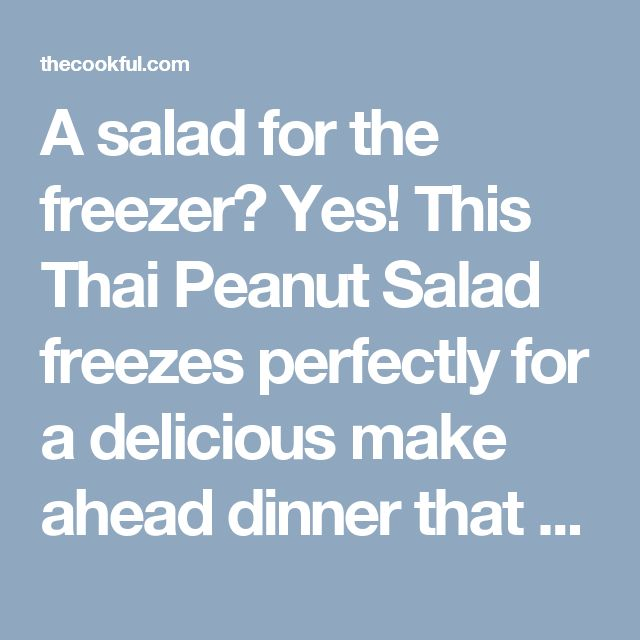 A salad for the freezer? Yes! This Thai Peanut Salad freezes perfectly for a delicious make ahead dinner that you just defrost and eat.