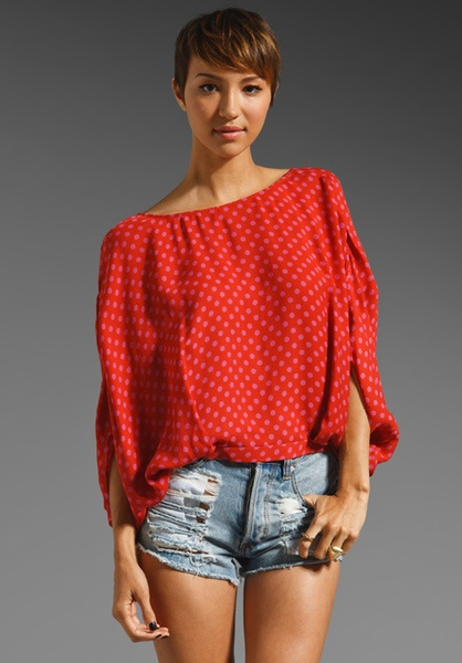 reversible low cut tie up blouse- www.lyst.com