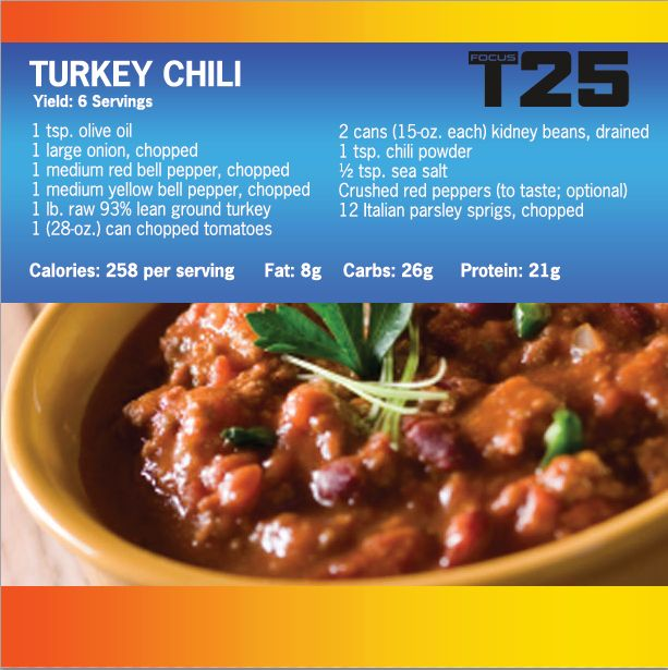 One of the things I LOVE about the Beachbody programs is that most of them come with meal plans and recipes. Focus T25 comes with 25 recipes that have 5 ingredients and it takes just a few minutes to prepare. Check this delicious turkey chili