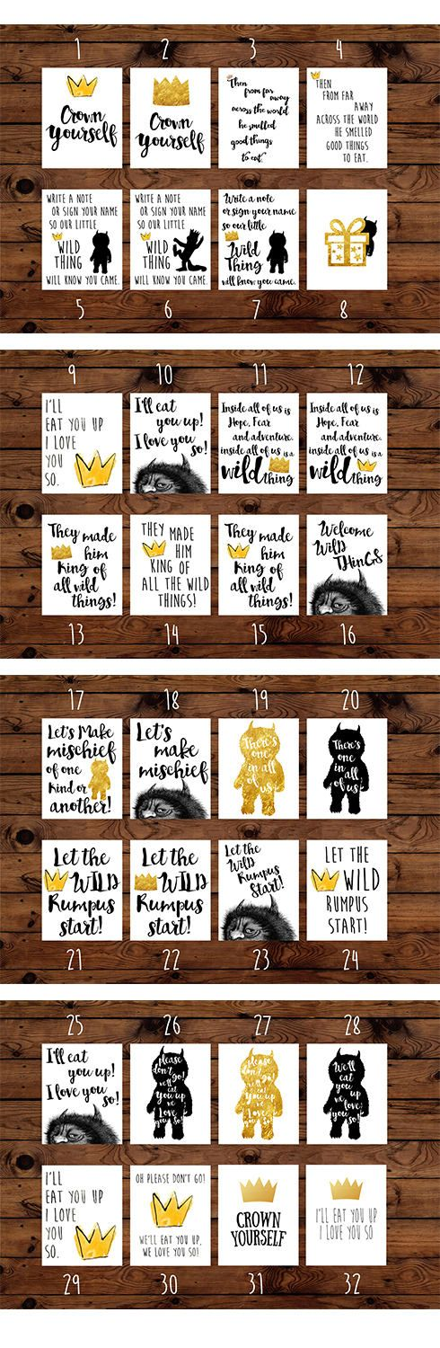 Where The Wild Things Are Birthday Party Bundle  .............Whats Included.............  - Different combinations offered in checkout  - Every package comes with 2 banners (Happy Birthday and Wild One) and a set of cupcake toppers in three Where The Wild Things Are designs  - Choose the number or prints or Invitations and list them (by number) in the notes to seller box at checkout.  - You will receive high resolution digital PDF and JPG files set to be printed on 8.5 x 11 sheets - NO…