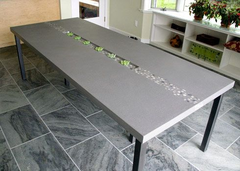 Concrete Table Top with inlaid stones and an inset succulent centerpiece - Trueform Concrete
