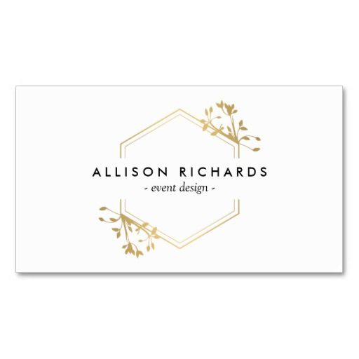 44 best business cards for event planners and wedding planners ornate gold vine and leaf emblem business card fbccfo Images