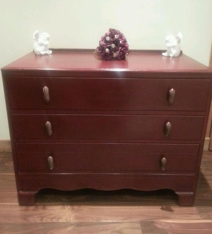 Beautiful hand painted solid oak lebus chest of drawers painted in Burgundy Annie Sloan and has been has dark wax applied to enhance the deep cherry shade which is gorgeous. Several coats of clear was have been applied for protection. Reduced from £100 to £90 including Free Local Delivery for sale on Gumtree. Colourmefurniture. please look at my other pins for examples of what I have sold.