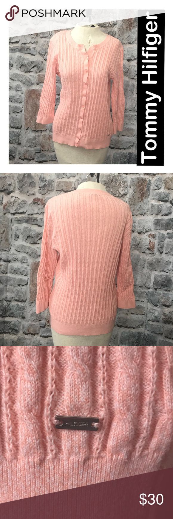 Tommy Hilfiger Beautiful Soft Pink Cardigan Tommy Hilfiger cardigan with delicate cabling. Button front. Hilfiger on metal tag. Excellent smoke free condition. Tommy Hilfiger Sweaters Cardigans