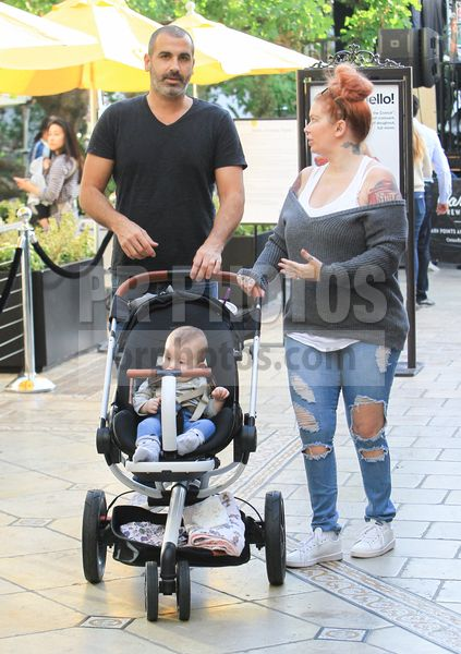 Jenna Jameson and Lior Bitton with Daughter Sighted Shopping at the Grove in Hollywood on November 20 2017