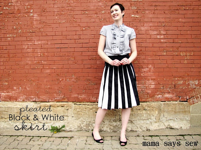 crafterhours: Skirt Week Guest Tutorial: Black and White pleated skirt by Mama Says Sew