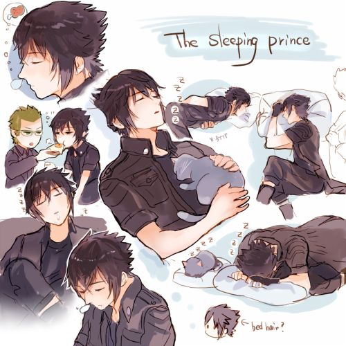 The many sleeping forms of Noctis. Final Fantasy Credits to the artist