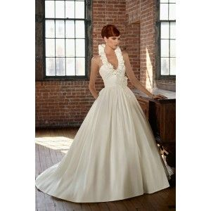 A Line Taffeta Halter Backless Gorgeous Wedding Gowns With Removable Flowers Only $299 - Dress Hoppe, #Dresshoppe, #A Line, #Taffeta, #Halter Collar, #Backless, #Gorgeous, #Wedding Gowns, #Bridal Dresses