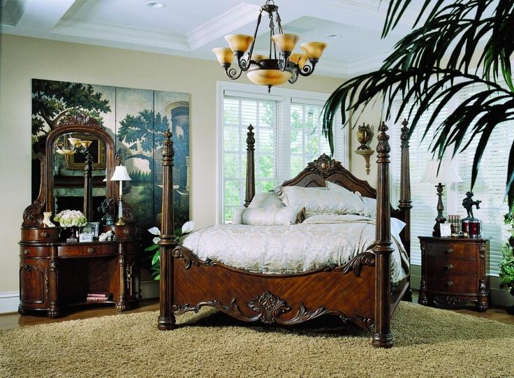 Four Poster Bedroom Sets | Edwardian 4 Piece Bedroom Set Queen Poster Bed  Vanity Nightstand