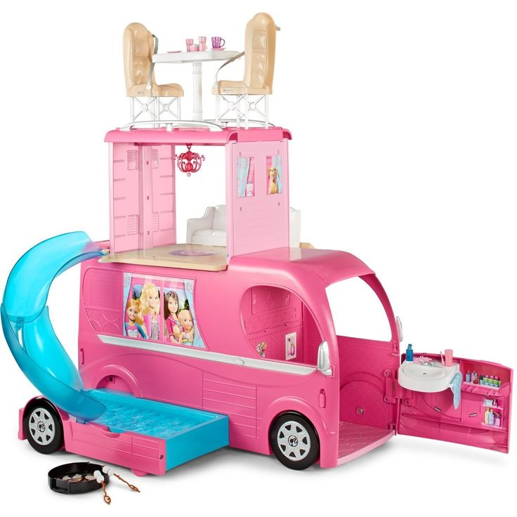 Your child will love taking Barbie and her friends on trip after trip with this darling pop-up camper, featuring a slide, a fire pit, cookware and more.