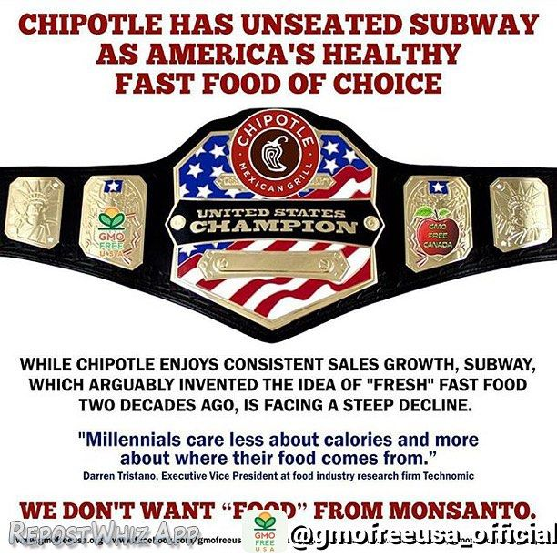 "Four years ago I was told ""Organic Living no one wants that?"" Lol and now we have public eateries like @chipotlemexicangrill @amysdrivethru  @7fruity #keeping #positive . . By @gmofreeusa_official via  @ChipotleMexicanGrill has unseated @Subway as America's healthy fast food of choice - Business Insider UK: While #Chipotle has removed #GMOs from its ingredients this year #Subway is dragging its feet. While Chipotle enjoys consistent sales growth Subway which arguably invented the idea of…"