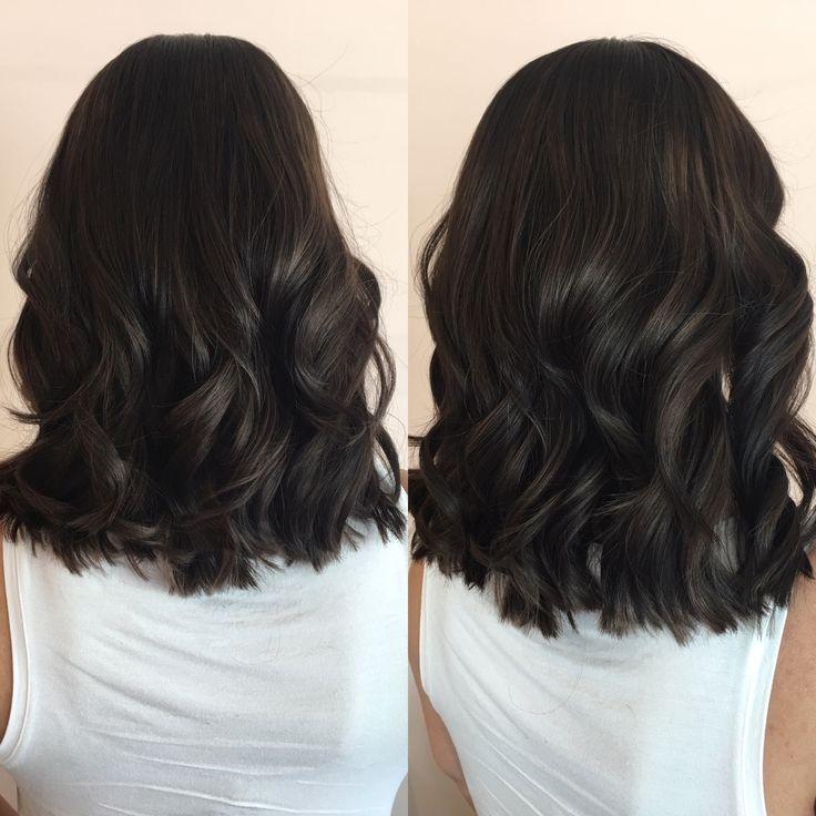 tiefes dunkles schokoladenbraunes lob mittellanges haarschnitt neue sommertransformation lockt gesundes haar