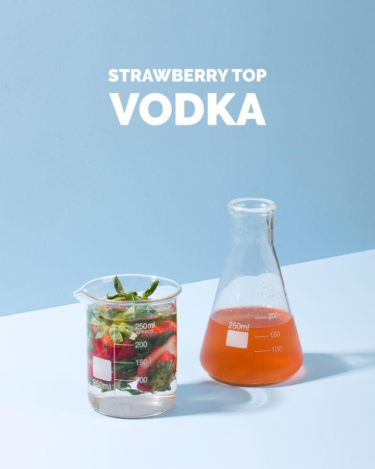 use strawberry tops when making shrub--Strawberry Top Vodka / Wit & Vinegar