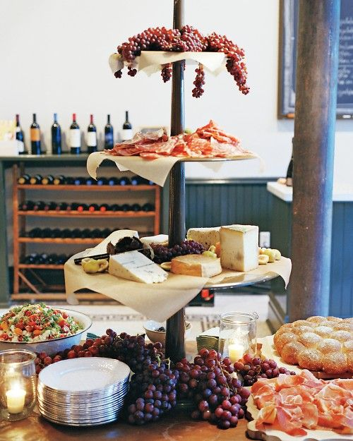 Bread, charcuterie, cheese, and grapes