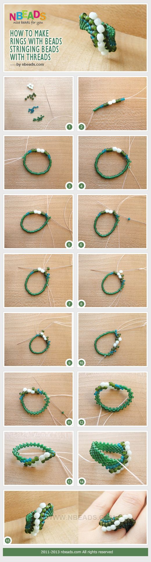 How to Make Rings with Beads-Stringing Beads with Threads #diy
