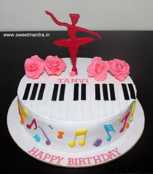 Dance and Music theme customized designer fondant cake for girl's birthday by Sweet Mantra - Customized 3D cakes Designer Wedding/Engagement cakes in Pune - http://cakesdecor.com/cakes/295831-dance-and-music-theme-customized-designer-fondant-cake-for-girl-s-birthday
