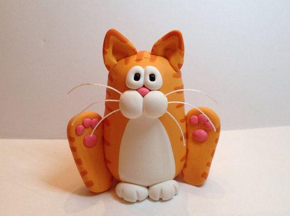 Sentado Escultura gato feliz
